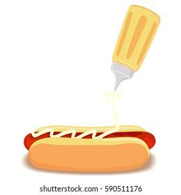 Vector Illustration of Hotdog with Bun with Mustard Sauce