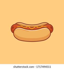 Vector illustration of hotdog. Minimalist design.