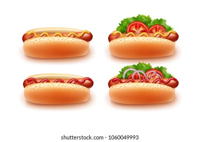 Vector illustration of hotdogs hot dogs different variety of cooking with ketchup and mustard, side view. Isolated on white background