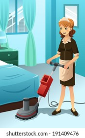 A vector illustration of hotel janitor cleaning floor with machine
