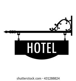 Vector illustration hotel vintage, old sign.  Signage shop sign route hanging information banner retailer. Hotel door sign