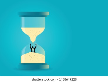 Vector illustration of a hourglass with businessman drowning inside. Time management. Deadline concept
