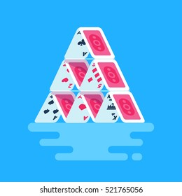 Vector illustration of house of cards. Isolated playing cards clip art. Trend modern flat style.