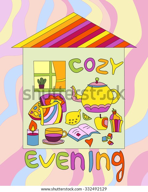 Vector illustration with house and elements of cozy evening.