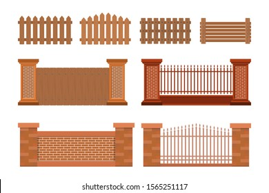 vector illustration of house fence, flat style design concepts with different variations isolated white background