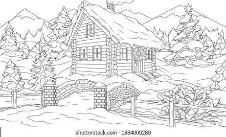 Vector illustration, a house in the forest for the new year, coloring book
