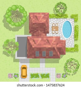 Vector illustration. House with garage, lawn and trees. Top view.