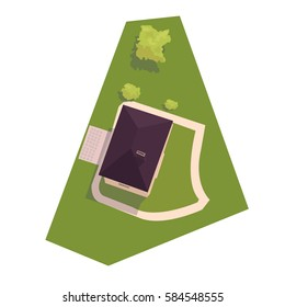 vector illustration of a house on top of a land plot