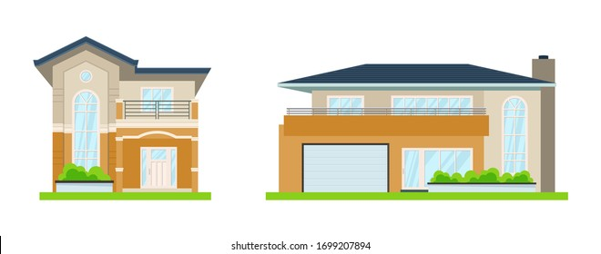 Vector illustration of a house on a white background. Cute house. Stay at home. Coronavirus, covid, quarantine, epidemic. Icons for cottages, townhouses, villas, houses, buildings. A hand drawn house