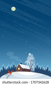 Vector illustration of a house with a shining window in a winter forest.Red Fox looks in the window of the house.Vertical banner winter night landscape with moon.