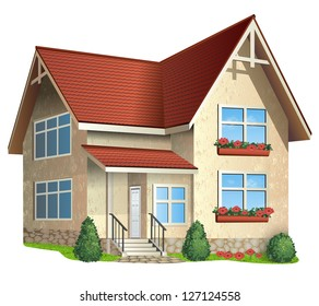 Vector Illustration of ���° house  with tile roof on a white background