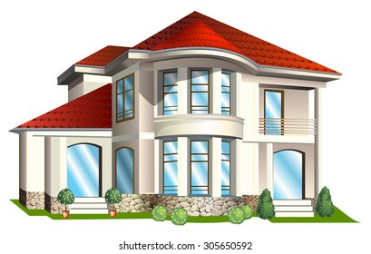 Vector Illustration of house  with tile roof on a white background