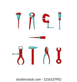 Vector illustration of household tools.  Icons of tools drawn with black line and red and turquoise colors. Bradawl, outside caliper, screwdriver, cutting pliers, hammer, clamp, wrench, pliers.