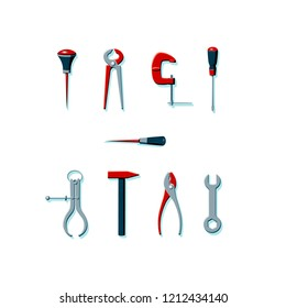 Vector illustration of household tools in red, gray and dark green color. Icons of tools with minty green shadows. Bradawl, outside caliper, screwdriver, cutting pliers, hammer, clamp, wrench, pliers.