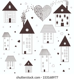 Vector illustration of houses with hearts in black and white
