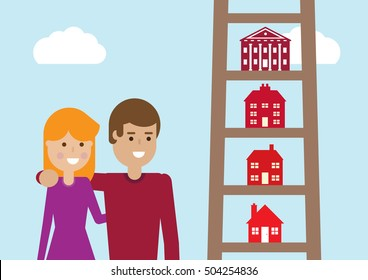 A vector illustration of houses on the rungs of a ladder, gradually getting bigger on the way up.