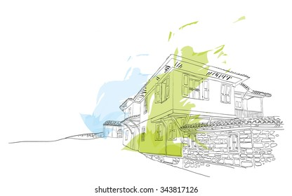 Vector illustration of houses. Sketch style Bulgarian house
