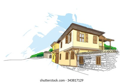 Vector illustration of houses. Sketch style in bright colors. Bulgarian house