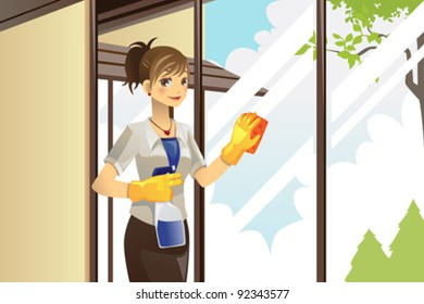 A vector illustration of a housewife cleaning windows at home