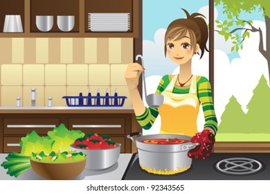 A vector illustration of a housewife cooking in the kitchen