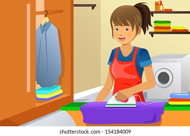 A vector illustration of a housewife ironing clothes at home