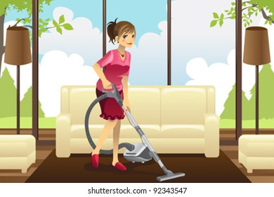 A vector illustration of a housewife vacuuming the carpet in the living room