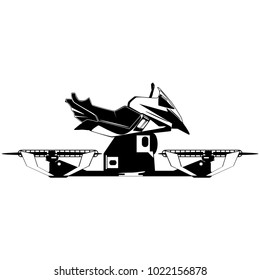 Vector illustration of hover bike. Hovering motorcycle, hovercraft, new fun personal transport, black template on white background, flat style design.