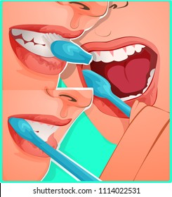 Vector illustration of how to properly brush your teeth dentist's advice