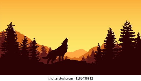 Vector illustration of a howling wolf standing on the hill with a panoramic view of mountains, forest and beautiful sunset.