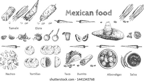 Vector illustration of huge Mexican food mega pack set. Tamale, Elote, chili peppers, Nachos, Tortillas, Taco, Burito, Albondigas, Salsa, Tequila with lime, vegetables. Vintage hand drawn style.
