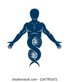 Vector illustration of human, athlete depicted as DNA strands continuation. Molecular biotechnology concept.