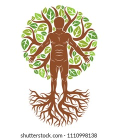 Vector illustration of human, athlete made as continuation of tree with strong roots and surrounded by eco green leaves. Mythic creature, Perun Slavic god.