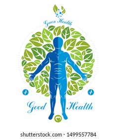 Vector illustration of human, athlete surrounded by green tree leaves and composed with wireframe mesh symbol. Individual as the link between nature and scientific achievements.
