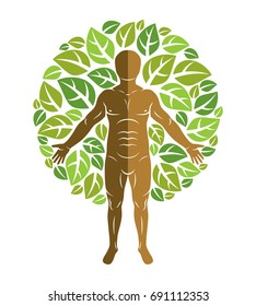 Vector illustration of human, athlete surrounded by eco green leaves. Mythic creature, Perun Slavic god.