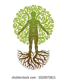 Vector illustration of human being created as continuation of tree with strong roots and made using natural green leaves. Human growth and personality development concept.