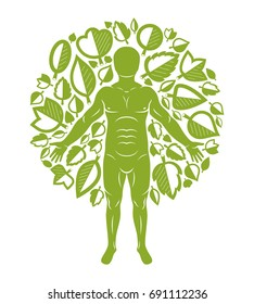 Vector illustration of human being standing on white background and made using natural green leaves. Greenman, pagan god metaphor.