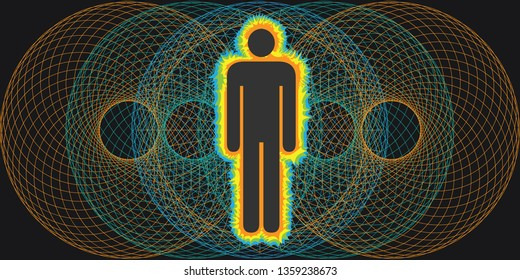 vector illustration of human body with electromagnetic radiation spectrum for bioelectricity concept