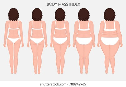 Vector illustration Human body mass Index, European woman from lack of weight to obesity. Back view. For advertising of cosmetic plastic procedures, stomach shunting, diet, medical publications. EPS 8