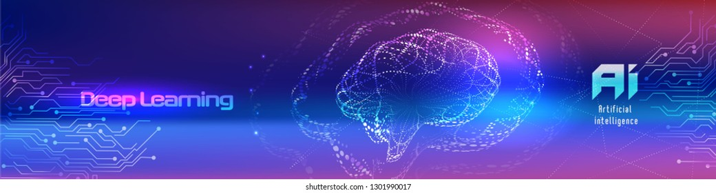 Vector illustration of human brain made by tiny particles between glowing digital network for Artificial Intelligence (AI) deep learning concept.