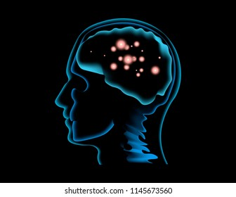Vector illustration of a human brain scan during a thought process