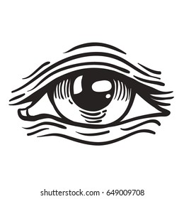 Vector illustration of human eye in vintage engraved style Isolated, grouped, transparent background. Sketch for tattoo, hipster t-shirt design, vintage style posters. Coloring book for adults.