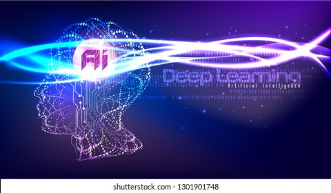 Vector illustration of human face made by tiny particles between glowing digital network for Artificial Intelligence (AI) deep learning concept. Great for poster and website banner.