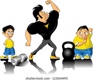 vector illustration of human figure body builder lifting a dumbbell set inside a circle