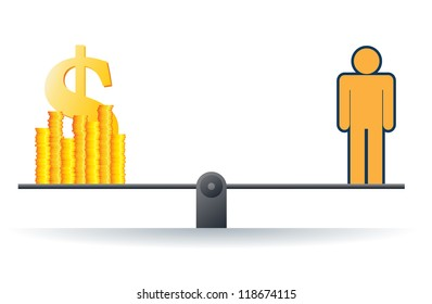 Vector illustration of a human figure on a scale with heaps of gold dollar coins.