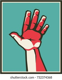 Vector illustration of a human hand gesture five fingers palm account