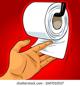 Vector illustration of human hand holding toilet paper