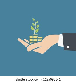 Vector illustration of human hand holding stacks of coins and growth plant. Transparent background, ready to use.