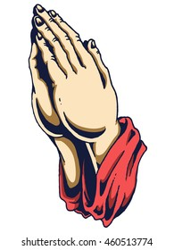 vector illustration of human hand in praying position