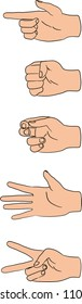 vector illustration of human hands in various poses