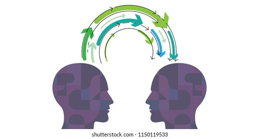 vector illustration of human head with arrows with supernatural mental connection for telepathy and knowledge exchange visuals